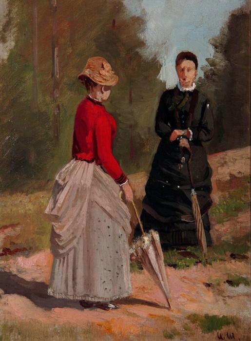 Two female figures 1880 29. 3h22. 8. Ivan Ivanovich Shishkin