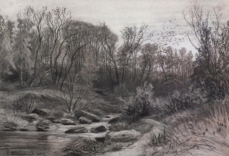 Forest Stream. Evening 1871 29, 7h43, 3. Ivan Ivanovich Shishkin