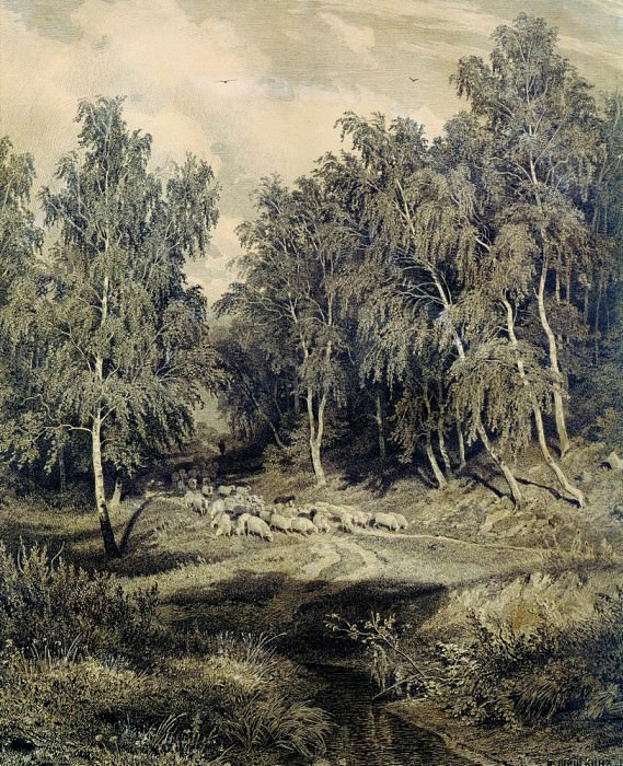 Landscape with a herd of sheep 1870. Etching. Ivan Ivanovich Shishkin