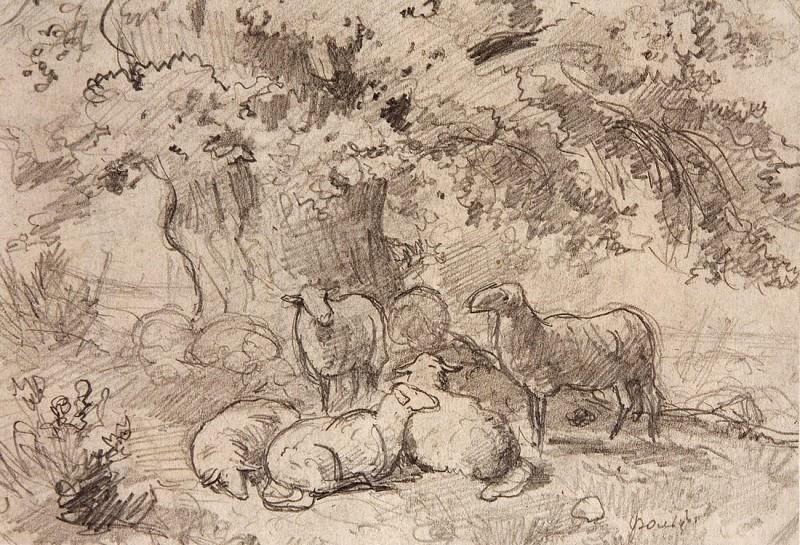 Овцы под дубом. 1862-1864 13х19. Иван Иванович Шишкин