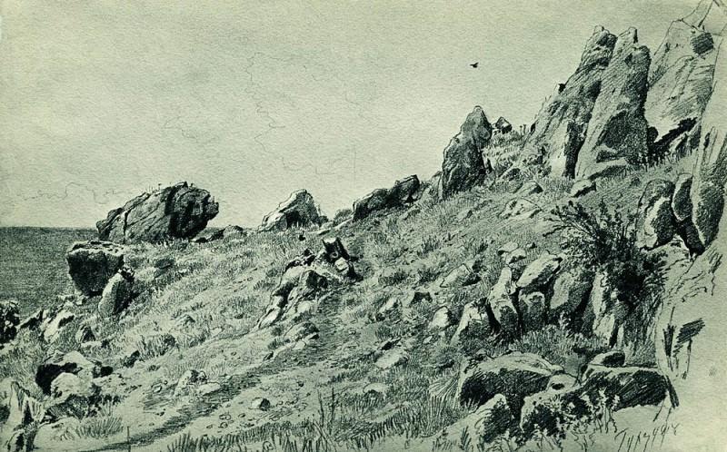 Rocks on the beach. Gurzuf 1879 28, 8h45. 8. Ivan Ivanovich Shishkin