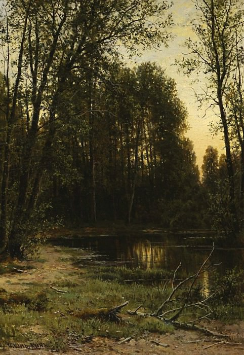 River backwater in forest 1889-1890 52h47. Ivan Ivanovich Shishkin