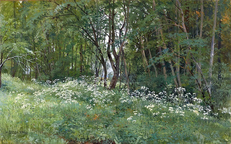 Flowers on the edge of the forest in 1893 42h67. Ivan Ivanovich Shishkin