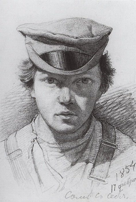 Self-Portrait 1854. Paper, graphite. pencil. 13. 3h9, 6. Ivan Ivanovich Shishkin