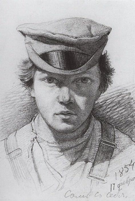 Автопортрет 1854. Бумага, графит. карандаш. 13. 3х9. Иван Иванович Шишкин
