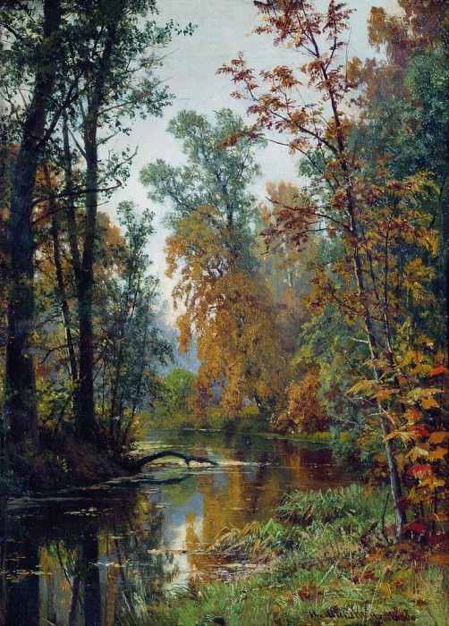 Autumn landscape. Park in Pavlovsk 1888 41. h31. Ivan Ivanovich Shishkin