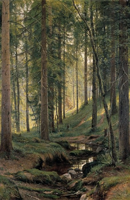 Stream in the Forest (on the hillside) 1880 204h138. Ivan Ivanovich Shishkin