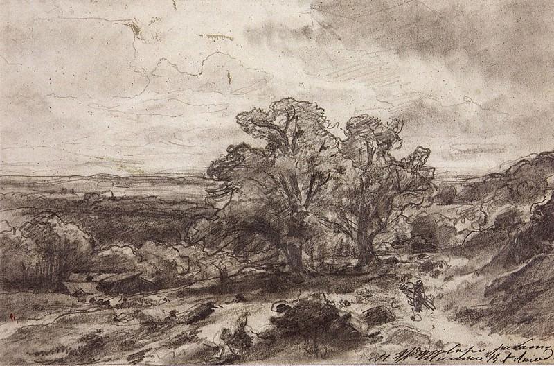 Пейзаж с дубами. 1864 18х27, 4. Иван Иванович Шишкин