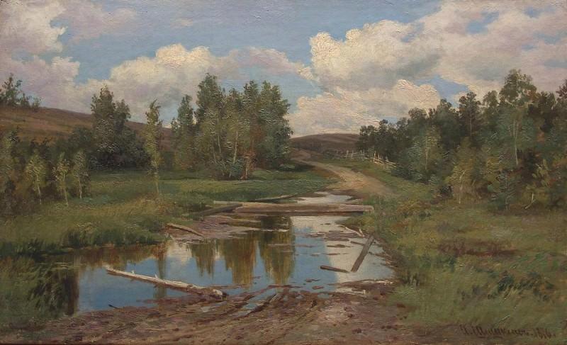 Forest landscape. 1876 road. Ivan Ivanovich Shishkin