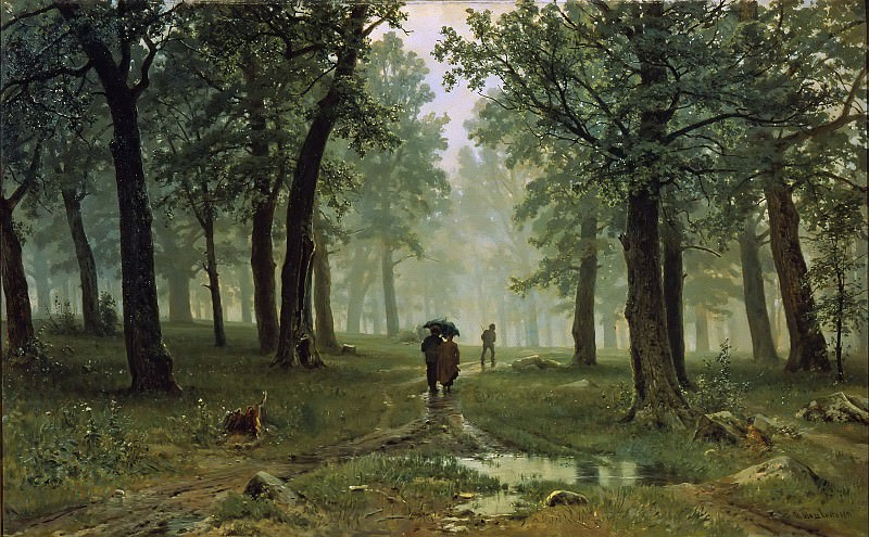 Rain in the oak forest. Ivan Ivanovich Shishkin