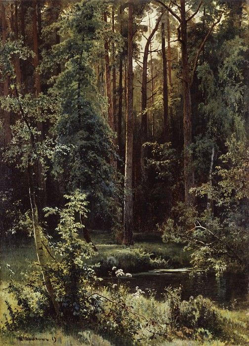Landscape with forest lake. 1889 100 1973 5. Ivan Ivanovich Shishkin