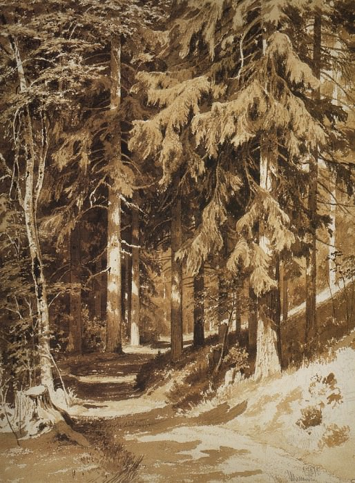 track in the woods. 1891 Paper, Sepia, Earl. pencil 61. 4h44. 5. Ivan Ivanovich Shishkin
