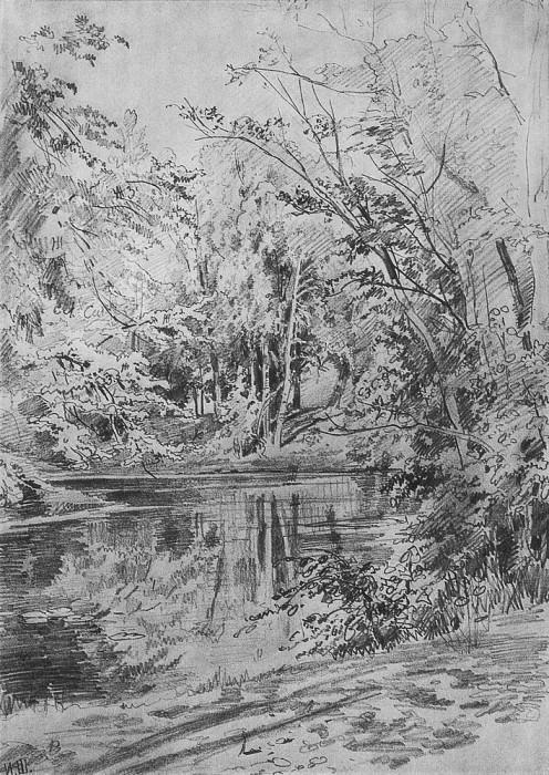 Пруд 1870-е 50х35. Иван Иванович Шишкин