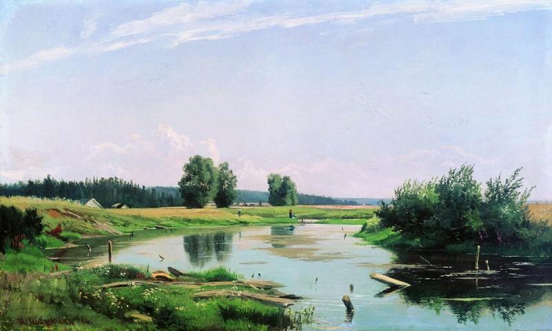 Пейзаж с озером 1886 37х61. Иван Иванович Шишкин