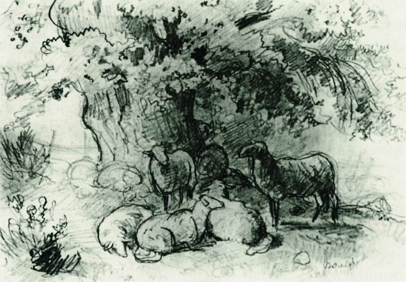 herd of sheep under an oak tree in 1863 13, 5h19, 6. Ivan Ivanovich Shishkin