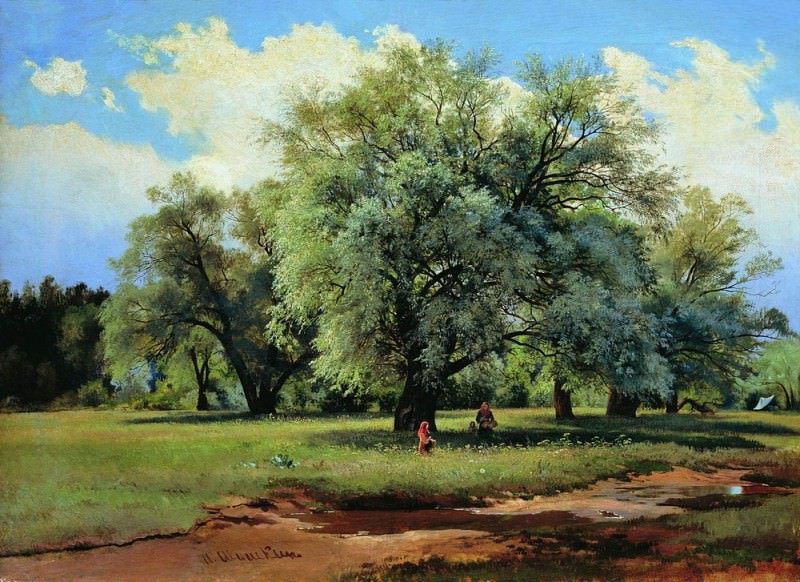 Willows, lit by the sun. Late 1860-s-nachalo1870 62h85. Ivan Ivanovich Shishkin