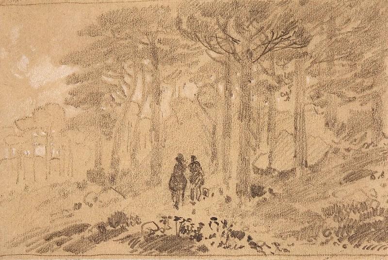 Двое в лесу. Конец 1880-х - начало 1890-х 9х14. Иван Иванович Шишкин