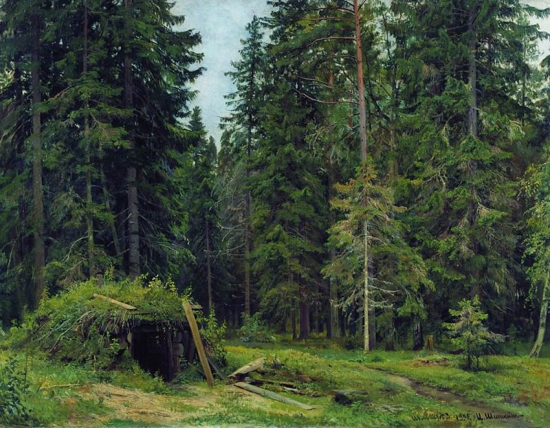 Forest lodge. 1892, 84 5h112. Ivan Ivanovich Shishkin