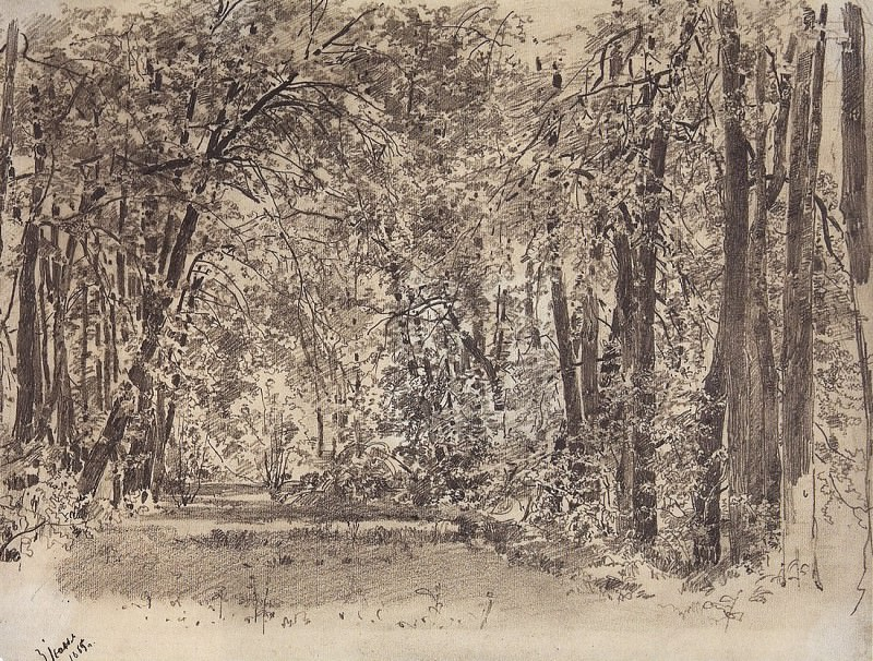 Alley in the old park. 1885 23, 5h31. Ivan Ivanovich Shishkin