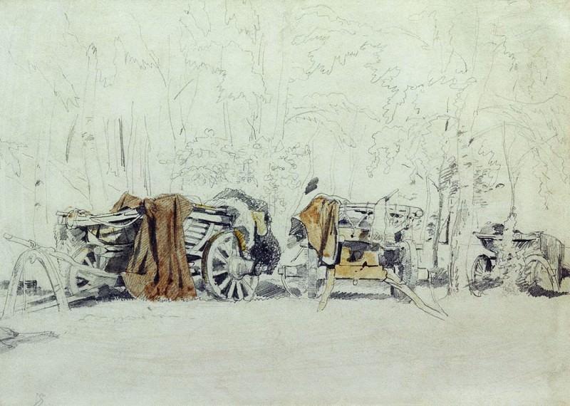 Landscape with carts 23h32. Ivan Ivanovich Shishkin
