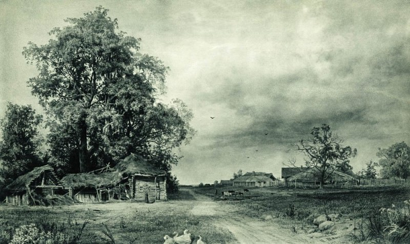 1874 Village Paper. graph. pencil, white 55, 4h90, 3. Ivan Ivanovich Shishkin