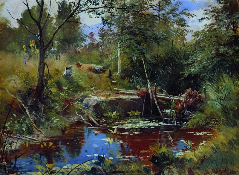 Landscape with a bridge 34h46. Ivan Ivanovich Shishkin