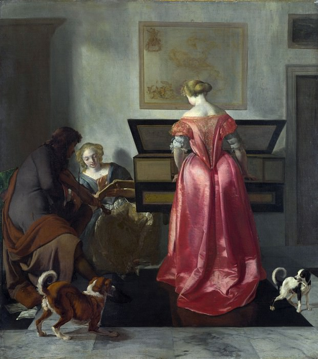 Jacob Ochtervelt - Two Women and a Man making Music. Part 4 National Gallery UK