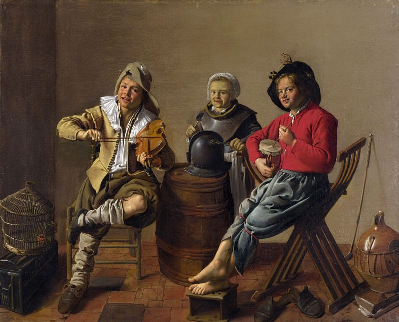 Jan Molenaer - Two Boys and a Girl making Music. Part 4 National Gallery UK