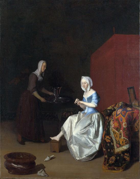 Jacob Ochtervelt - A Young Lady Trimming her Fingernails. Part 4 National Gallery UK