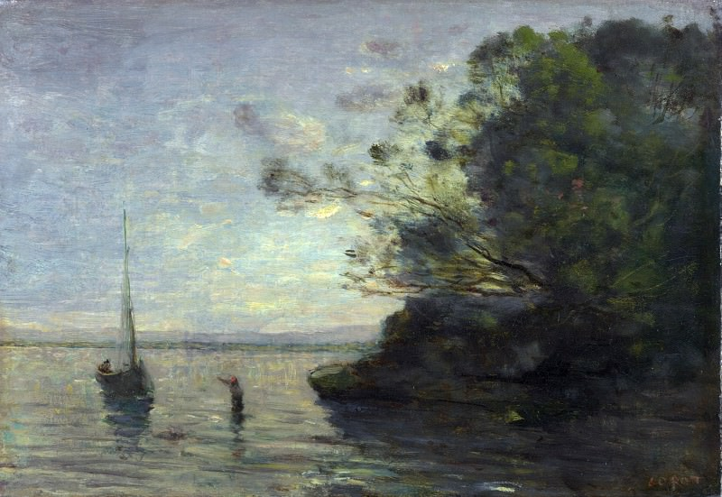 Jean-Baptiste Camille Corot - Evening on the Lake. Part 4 National Gallery UK