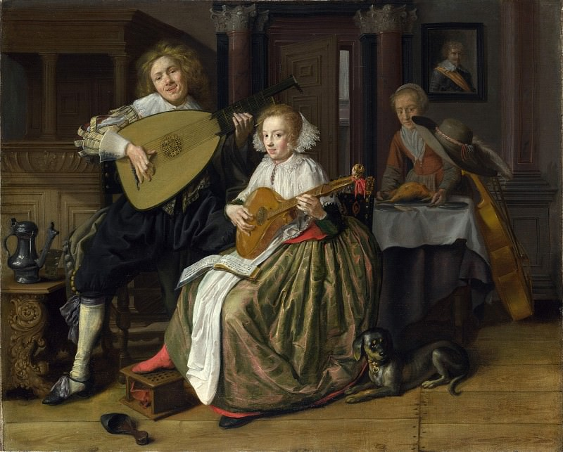 Jan Molenaer - A Young Man and Woman making Music. Part 4 National Gallery UK