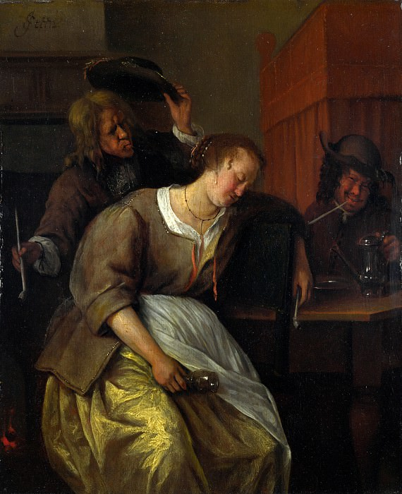 Jan Steen - A Man Blowing Smoke at Drunken Woman. Part 4 National Gallery UK