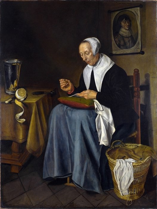 Johannes van der Aack - An Old Woman seated sewing. Part 4 National Gallery UK