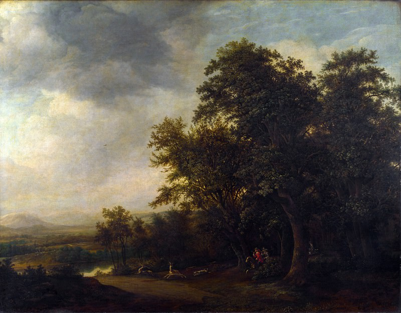 Jan de Lagoor - A Woody Landscape with a Stag Hunt. Part 4 National Gallery UK
