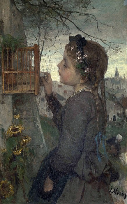 Jacob Maris - A Girl feeding a Bird in a Cage. Part 4 National Gallery UK