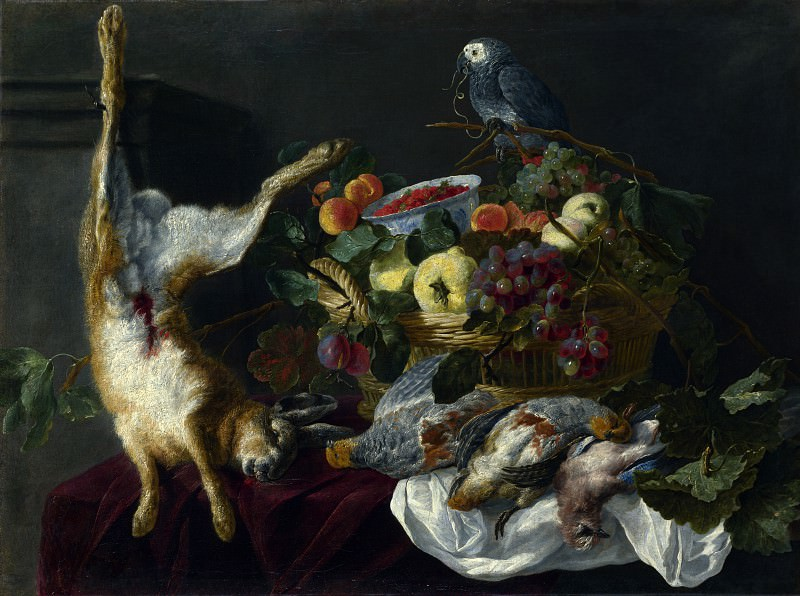 Jan Fyt - A Still Life with Fruit, Dead Game and a Parrot. Part 4 National Gallery UK