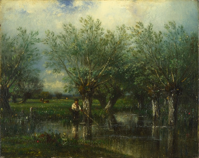 Jules-Louis Dupre - Willows, with a Man Fishing. Part 4 National Gallery UK