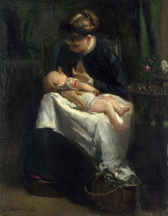 Jacob Maris - A Young Woman nursing a Baby. Part 4 National Gallery UK