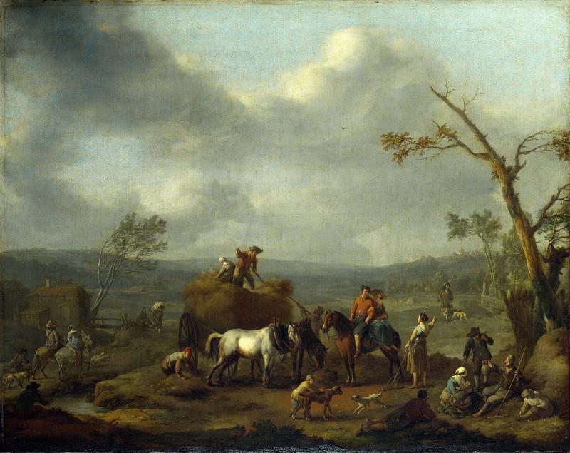 Jan Lingelbach - Peasants loading a Hay Cart. Part 4 National Gallery UK