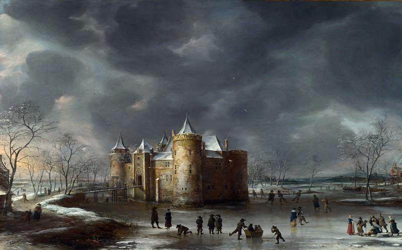 Jan Beerstraaten - The Castle of Muiden in Winter. Part 4 National Gallery UK