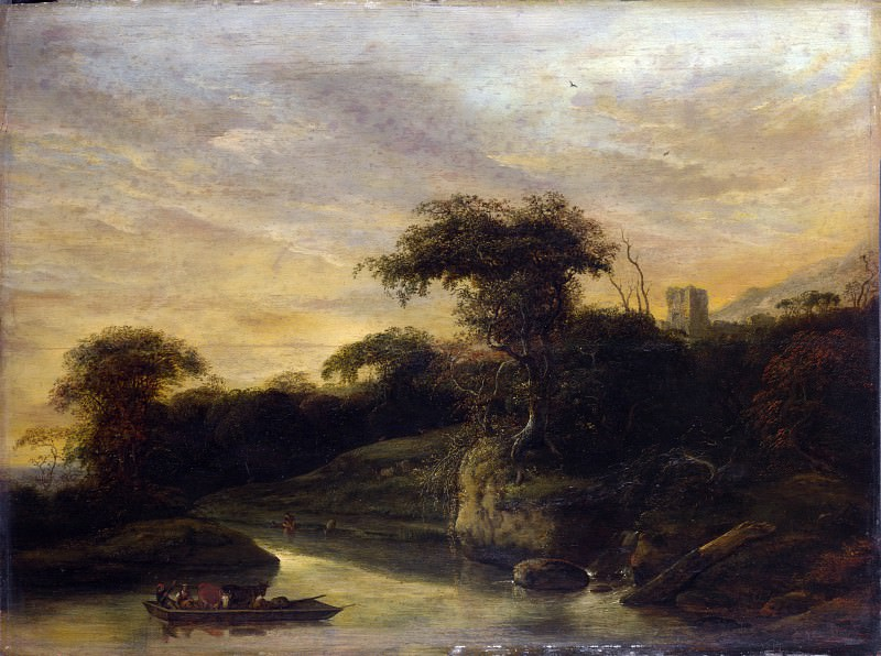 Jacob de Wet the Elder - A Landscape with a River at the Foot of a Hill. Part 4 National Gallery UK