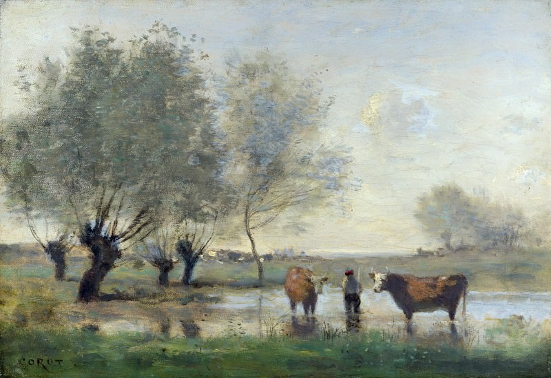 Jean-Baptiste Camille Corot - Cows in a Marshy Landscape. Part 4 National Gallery UK