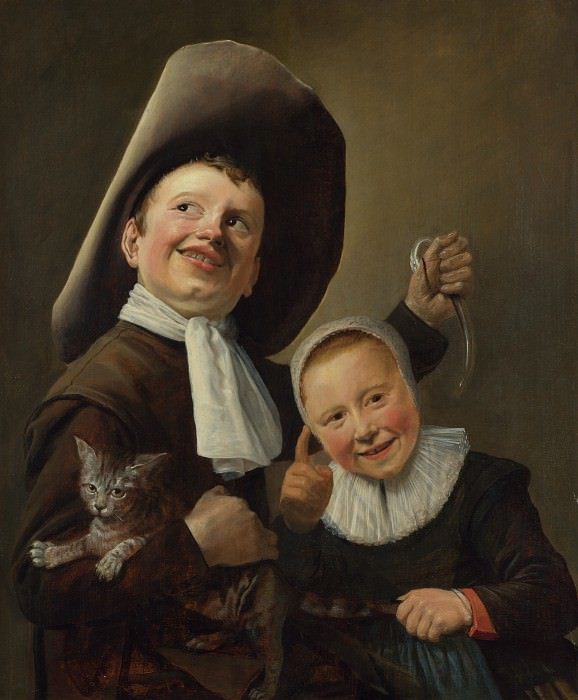 Judith Leyster - A Boy and a Girl with a Cat and an Eel. Part 4 National Gallery UK