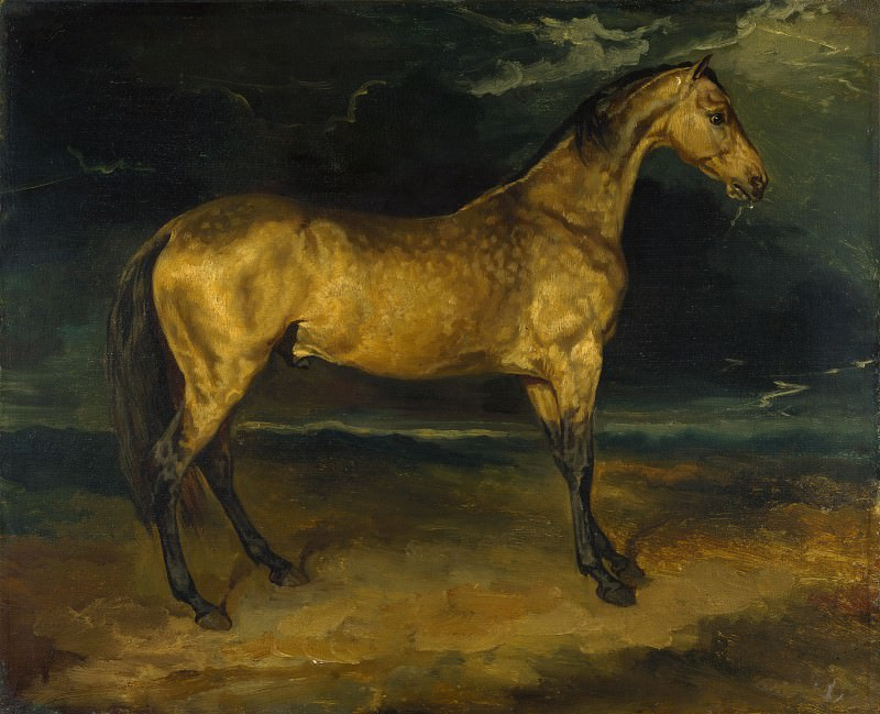 Jean-Louis Andre-Theodore Gericault - A Horse frightened by Lightning. Part 4 National Gallery UK