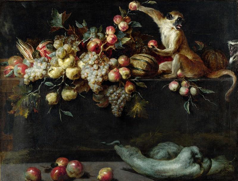 Ян Рос - Натюрморт с фруктамии и овощами с двумя обезъянками. Часть 4 Национальная галерея