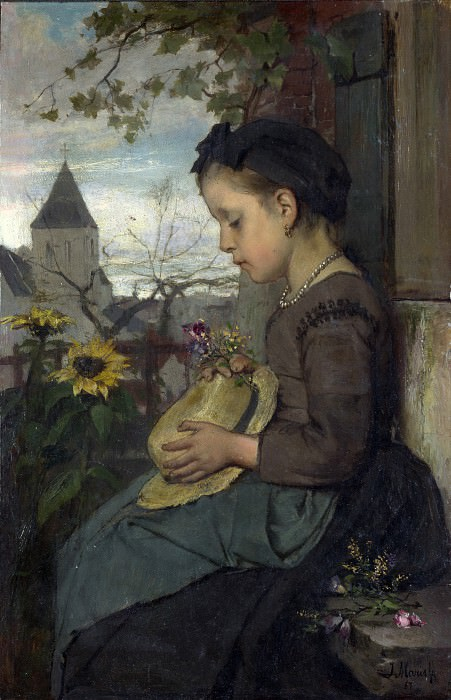 Jacob Maris - A Girl seated outside a House. Part 4 National Gallery UK
