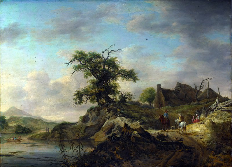 Jan Wouwermans - A Landscape with a Farm on the Bank of a River. Part 4 National Gallery UK