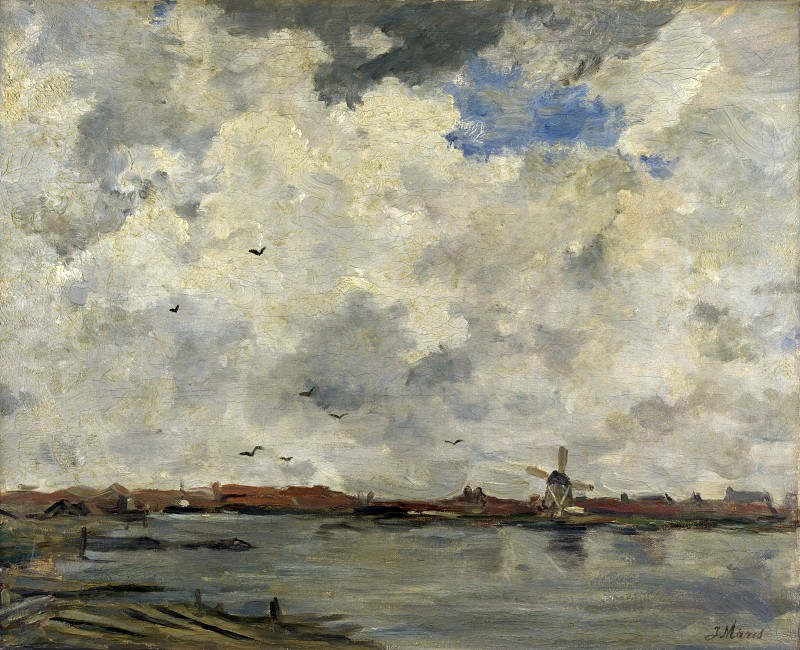 Jacob Maris - A Windmill and Houses beside Water - Stormy Sky. Part 4 National Gallery UK