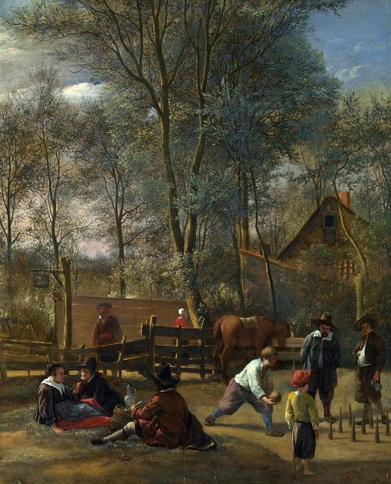Jan Steen - Skittle Players outside an Inn. Part 4 National Gallery UK