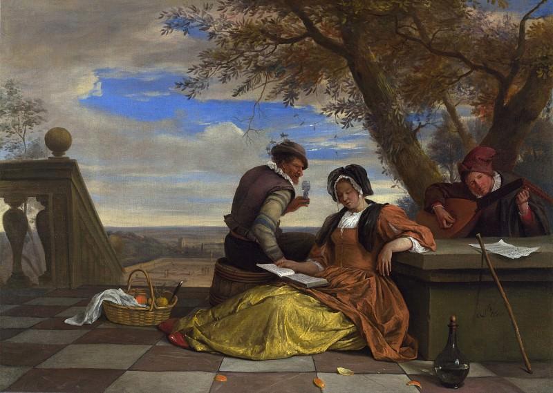 Ян Стен - Двое мужчин и женщина, музицирующие на террасе. Часть 4 Национальная галерея